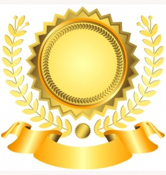 Golden award with ribbon vector