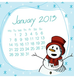 January 2013 snow man calendar vector