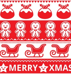 Christmas cute red seamless pattern vector image