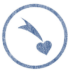 falling heart rounded fabric textured icon vector image