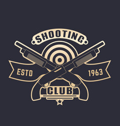 Shooting club logo with guns two crossed shotguns vector