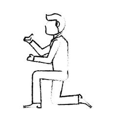 portrait groom ring wedding sketch vector image