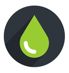 Green ecology drop sign circle icon vector