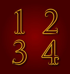 one two three four golden vintage numbers vector image