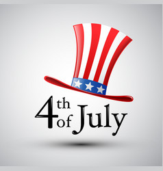 Happy 4th of july american flag in a hat vector