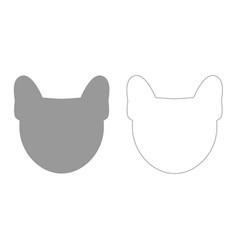 Head of dog grey set icon vector