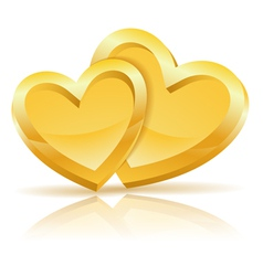 Two Gold Hearts vector image