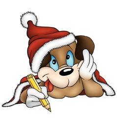 Christmas and puppy dog vector