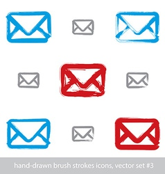 Collection of hand-drawn simple mail icons set of vector