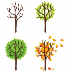 isolated trees seasonal vector set vector image