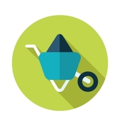 Wheelbarrow carts flat icon with long shadow vector