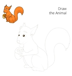 Draw the forest animal squirrel cartoon vector