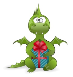 Dragon with a gift vector