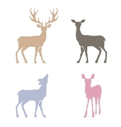 Deer silhouettes set vector image