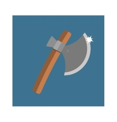 Wooden axe cartoon flat icon of handle wood work vector