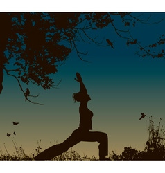 Silhouette of a lady doing yoga vector