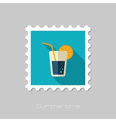 Cocktail flat stamp summer vacation vector