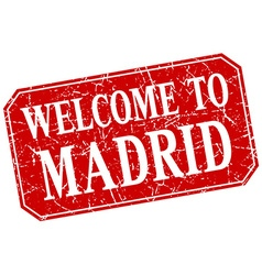 Welcome to madrid red square grunge stamp vector