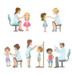 Kids on medical examination vector