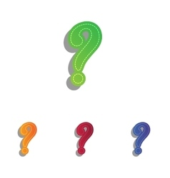 Question mark sign colorfull applique icons set vector
