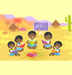african children read books outdoor in village vector image vector image