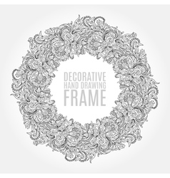 black and white floral frame pattern of vector image vector image