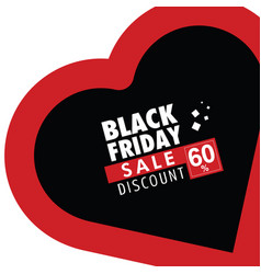 black friday in red heart vector image vector image