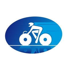 Blue icon of a racing cyclist vector image