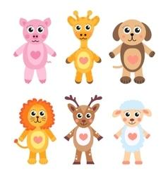 Cute cartoon animals set baby animals on a white vector