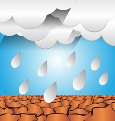 Dry ground and rain graphic vector