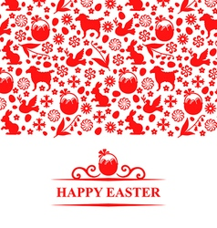 Easter pattern card red vector