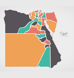 Egypt map with states and modern round shapes vector