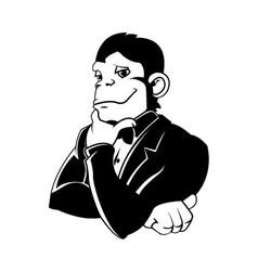 Elegant monkey in a tux vector