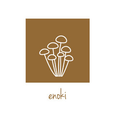 Enoki icon on brown square vector