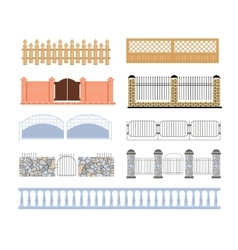 Fences of different materialls set designs vector