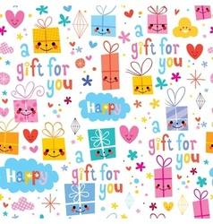 Gift wrapping paper cartoon seamless pattern vector