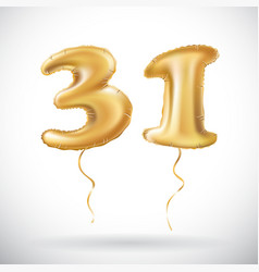 Golden number 31 thirty one of inflatable balloon vector