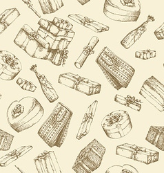 Hand drawn pattern with gift boxes vector image vector image