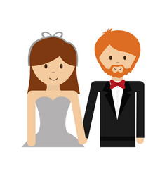 Happy wedding couple icon vector