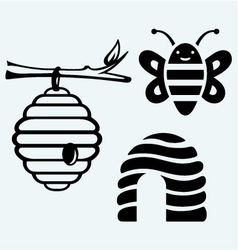 Honey bees and hive vector