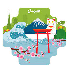 Japan travel and attraction landmarks vector