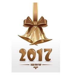 Jingle bells and gold figures 2017 happy new year vector