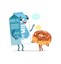 Milk packing and cute donut in chocolate icing vector