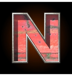 Old metal letter n vector