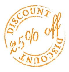 Orange 25 off discount stamp vector image vector image