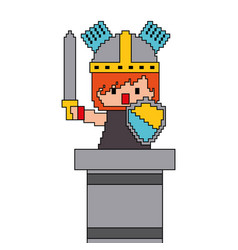 pixel character knight game interface level vector image