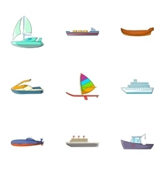 Riding in sea icons set cartoon style vector