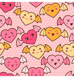 Seamless kawaii cartoon pattern with cute hearts vector