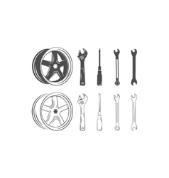 Set of car service tools and tire isolated on a vector image