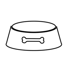 Sketch silhouette pet bowl with bone symbol vector